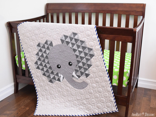 Elephant Baby Quilt Modern Pattern by IraRott in PDF FOrmat With Instant Download