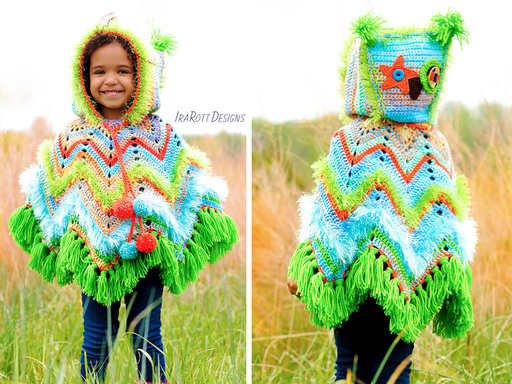 Owl Animal Poncho with Hood Crochet Pattern for babies kids and adults by IraRott