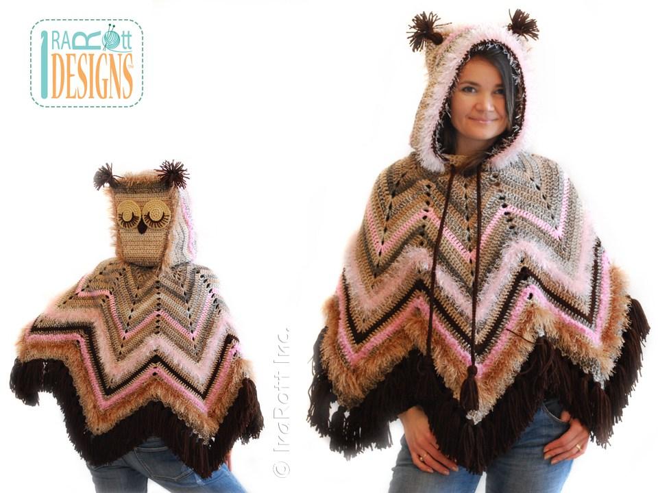 Fiesta Owl Poncho With Hood Pdf Crochet Pattern Irarott Inc
