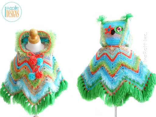 Owl Animal Poncho with Hood Crochet Pattern for boys and girls of all ages by IraRott