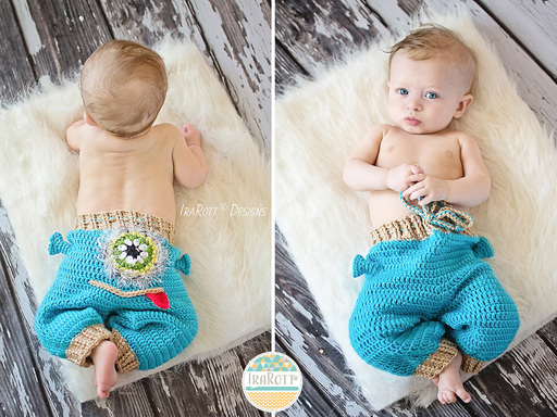Baby Pants with Alien Monster Frog or Lion Face Crochet Pattern by IraRott