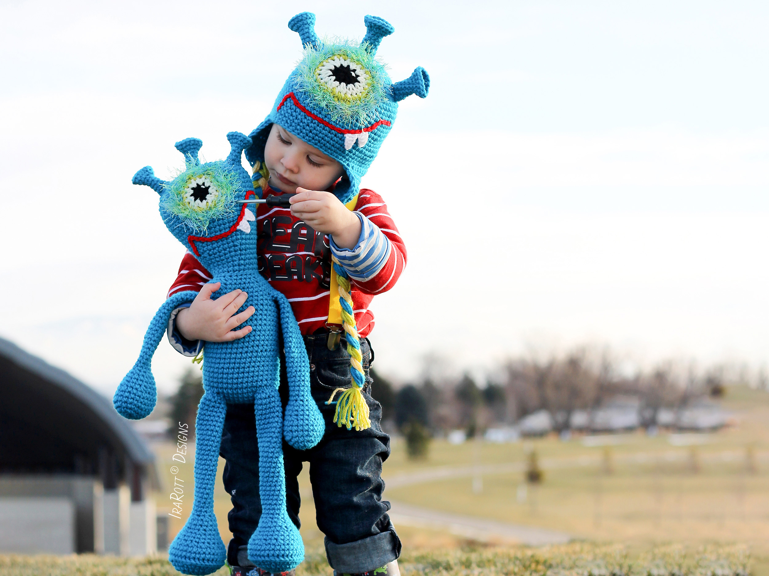 Crochet Pattern PDF for making a cute Alien Monster Hat with a matching Toy