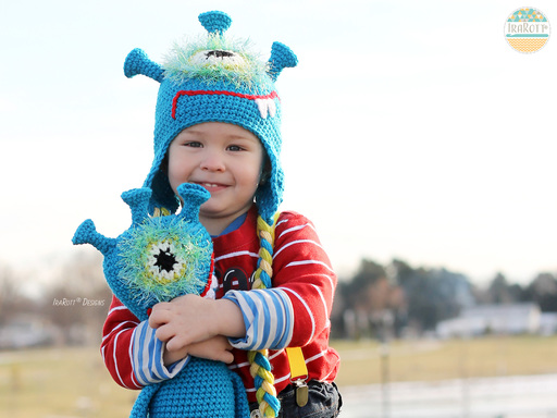 PDF Crochet Pattern for making a cute Alien Monster Hat with a matching Toy