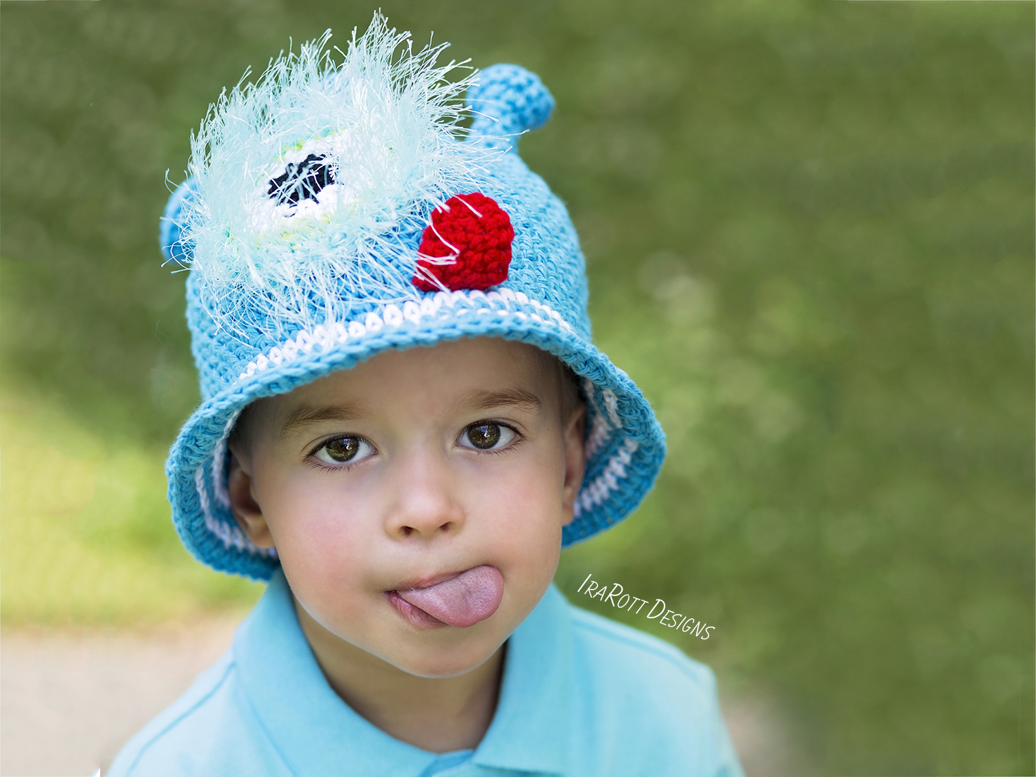 Crochet Pattern PDF for making a cute One Eye Alien Monster Sunhat for Summer