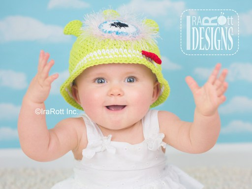 Alien Monster Summer Sun Hat Crochet Pattern for babies kids and adults by IraRott