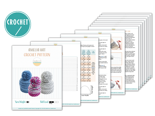 PDF Crochet Pattern for making a Super Chunky Winter Hat with Big PomPom for all sizes.