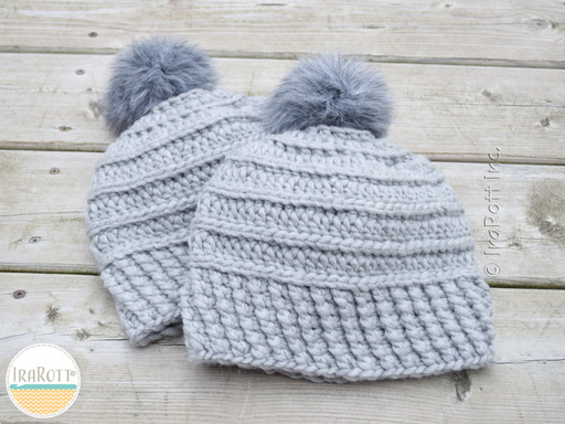Amelia Hat with Chunky PomPom or Faux Fur PomPom for All Sizes PDF Crochet Pattern by IraRott
