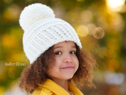 Crochet Winter Hat with PomPom for boys and girls of all ages pattern by IraRott