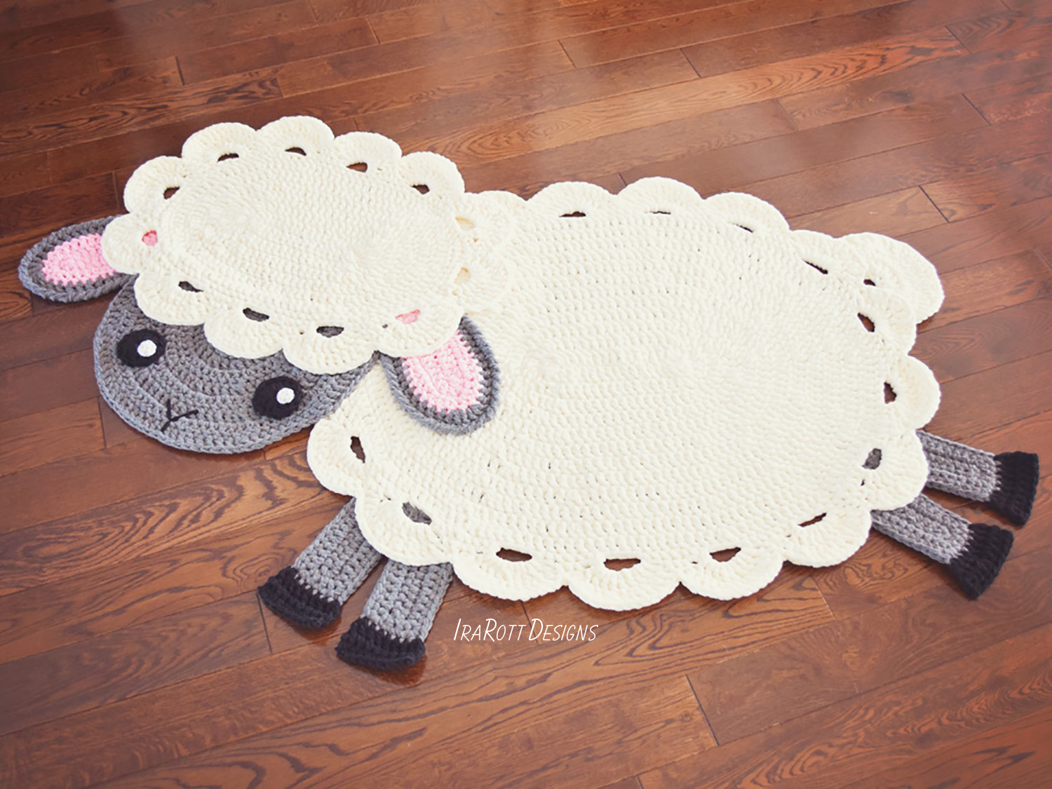 Crochet Pattern Pdf By Irarott For Making An Easter Lamb Rug Or Sheep Reading Mat Using