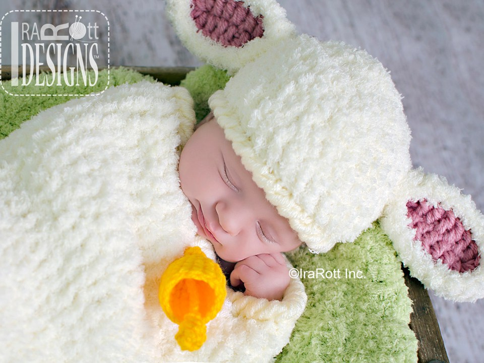 Baa Baa Baby Lamb Hat and Cocoon Set PDF Crochet Pattern - IraRott Inc.