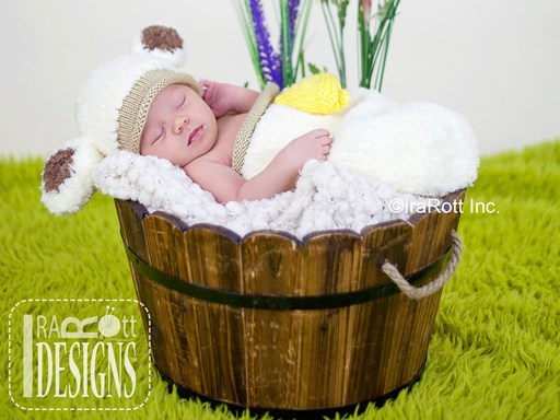 Baby Lamb Animal Hat Cocoon Photo Prop Knit Pattern by IraRott