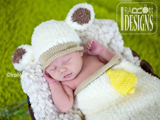 Baby Lamb Easter Animal Hat Cocoon Photo Prop Knit Pattern by IraRott