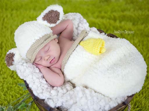 Knit Pattern PDF for making adorable Baby Lamb Hat and Cocoon Photo Prop Set with Bell
