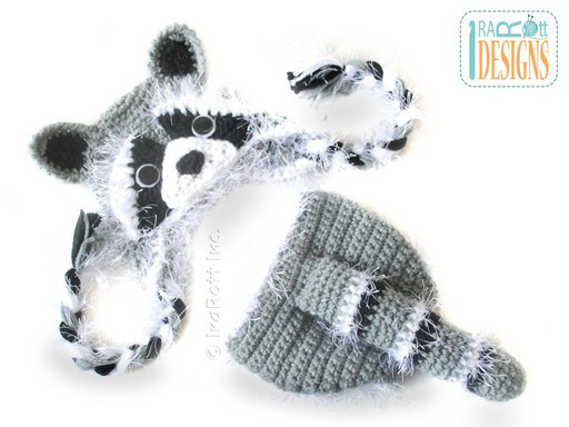 PDF Crochet Pattern for making a cute Baby Raccoon Hat and Diaper Cover with Tail Photo Prop Set
