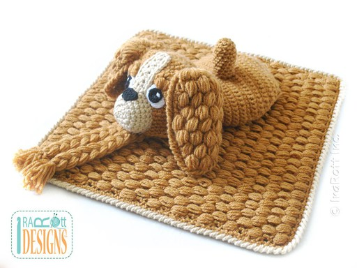 PDF Crochet Pattern for making a cute Baby Spaniel Hat and Diaper Cover Photo Prop Set.