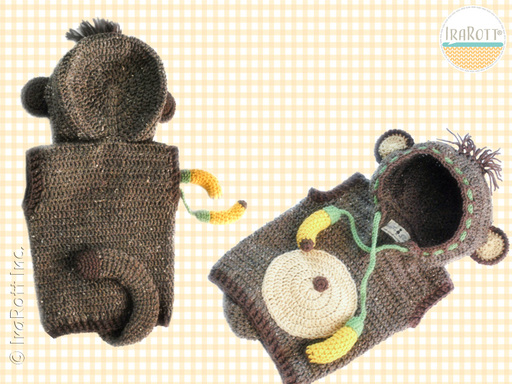 Monkey Animal Vest with Hood Crochet Pattern for Boys and Girls by IraRott