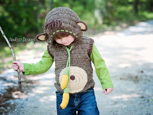 PDF Crochet Pattern for making a cute Monkey Vest with Hood and Banana Ties.