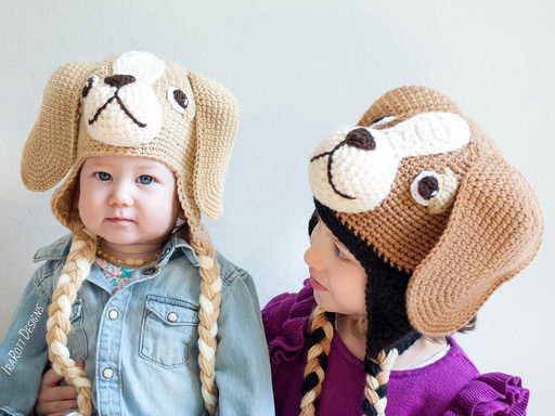 Beagle Puppy Dog Hat Crochet Pattern for babies kids and adults pattern by IraRott