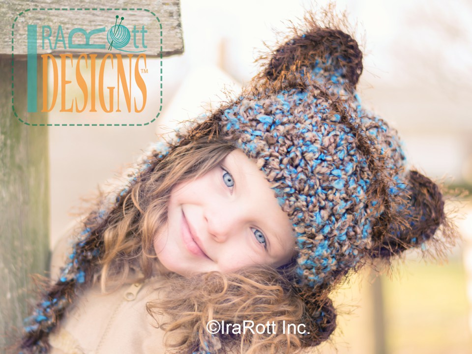 97890780814 Bear Animal Hat or Kitty Hat Crochet Pattern for kids of all ages