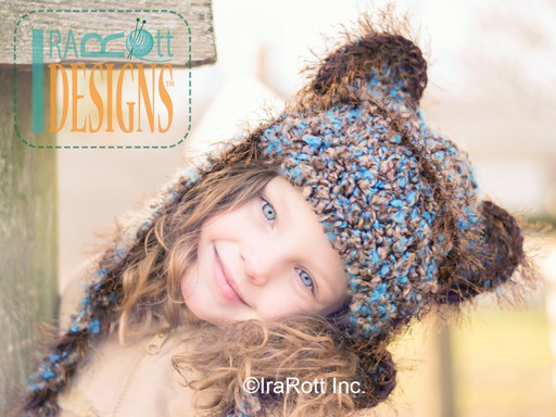 PDF Crochet Pattern for making a super warm winter Brear Hat or Kitty Hat for all sizes.