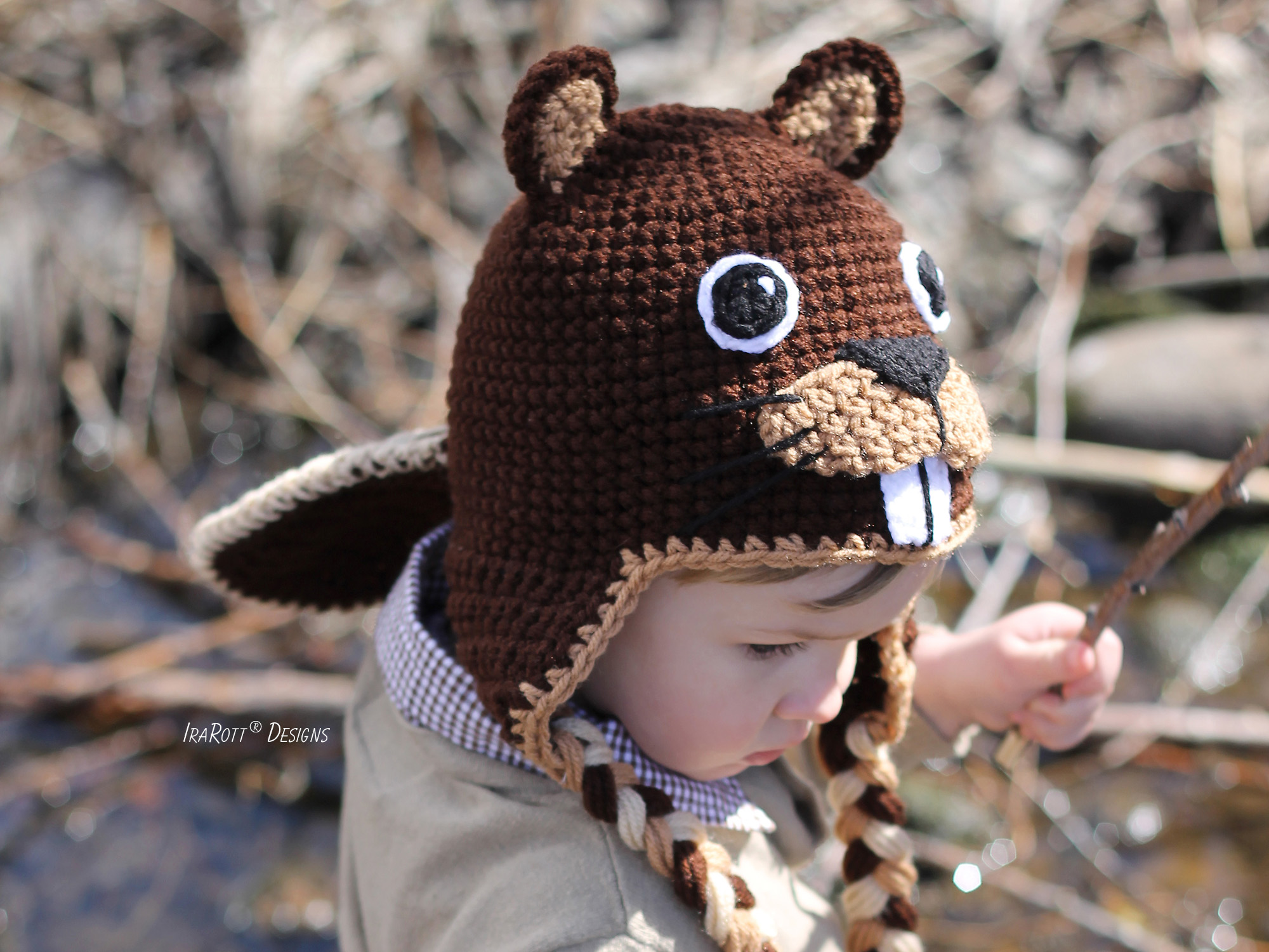 Beaver Animal Hat Crochet Pattern for babies kids and adult by IraRott