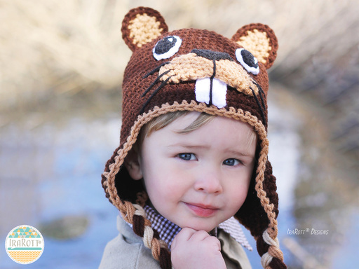 Beaver Animal Hat Crochet Pattern for boy and girls of all ages by IraRott