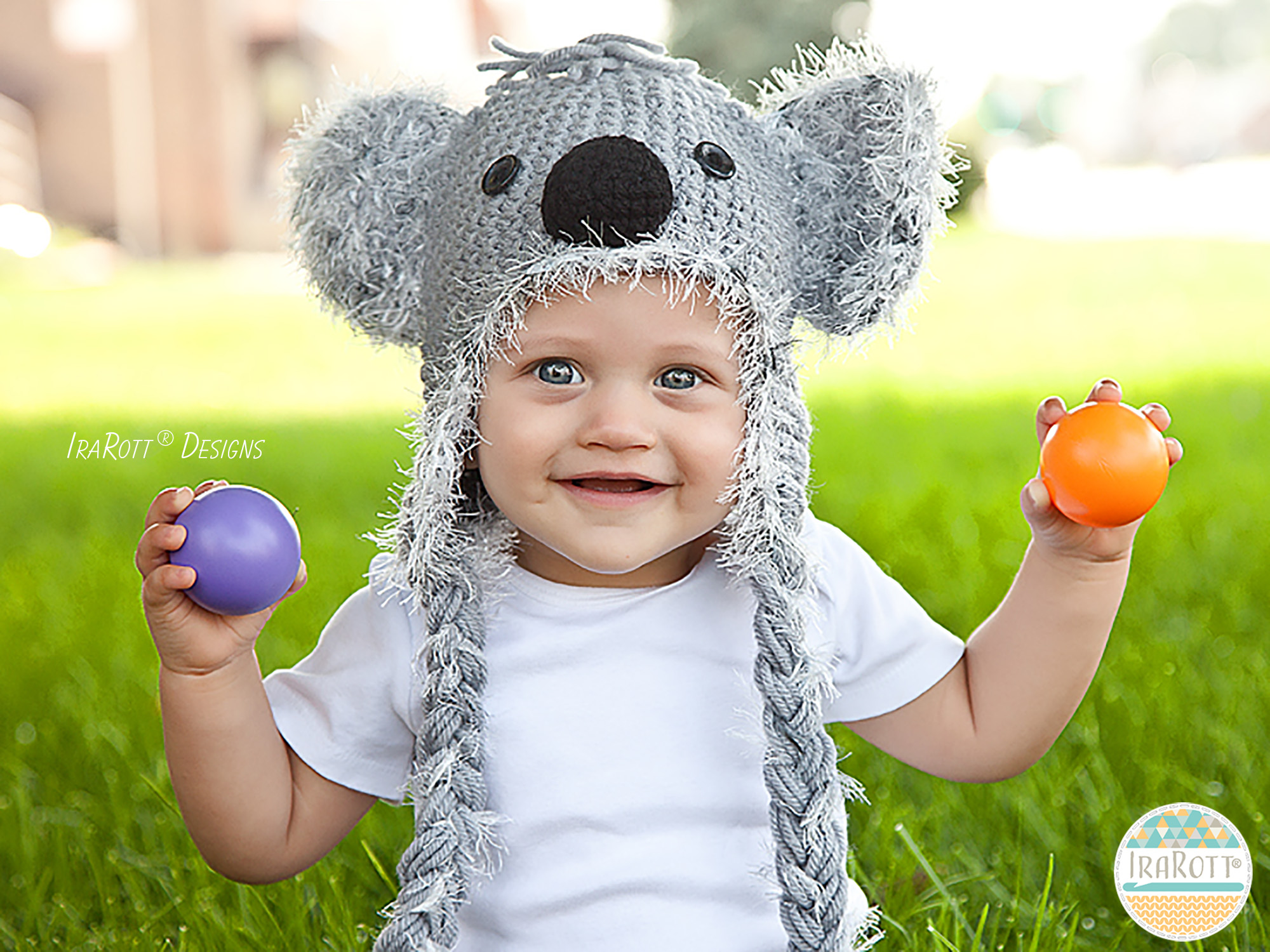 Koala Bear Animal Hat Crochet Pattern for Babies Kids and Adults by Irarott