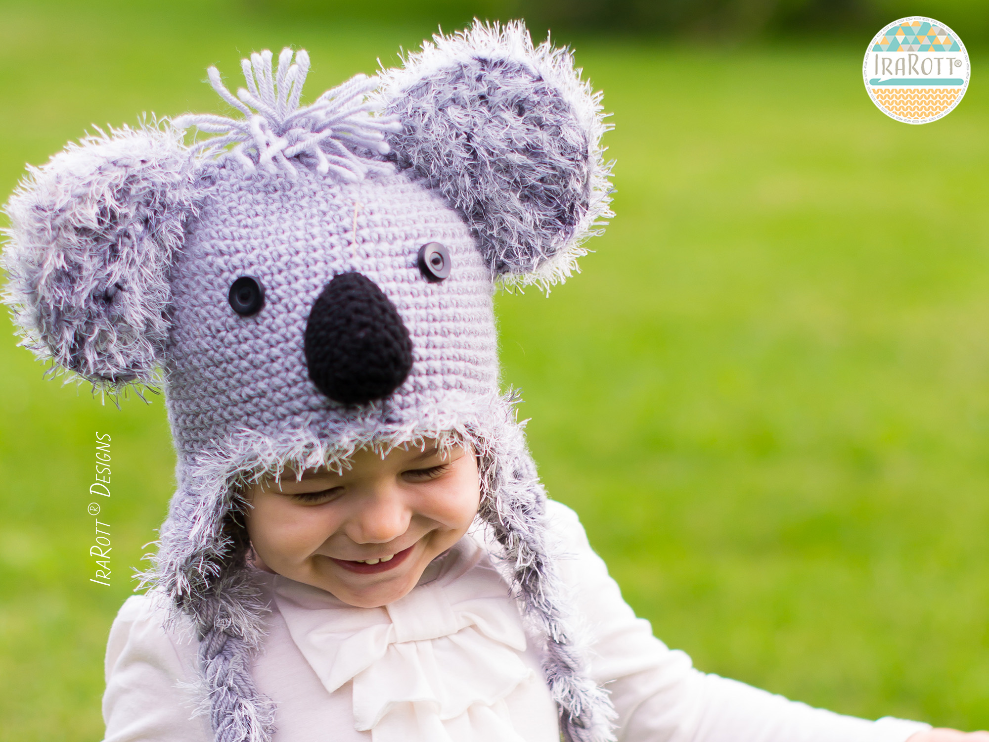 Koala Bear Animal Hat Crochet Pattern for boys and girls of all sizes by Irarott