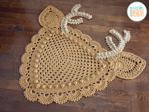 Crochet pattern PDF for making a lace deer animal rug or reading mat using granny square technique