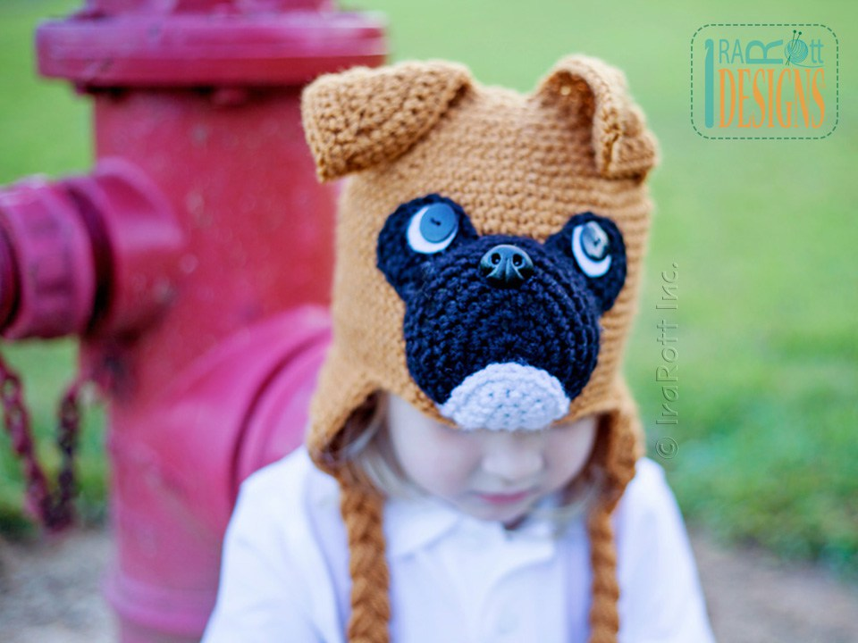 8216ee0e172 Boxer Puppy Dog Animal Hat Crochet Pattern for Babies kids and Adults by  IraRott