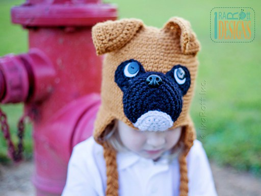 Boxer Puppy Dog Animal Hat Crochet Pattern for Babies kids and Adults by IraRott
