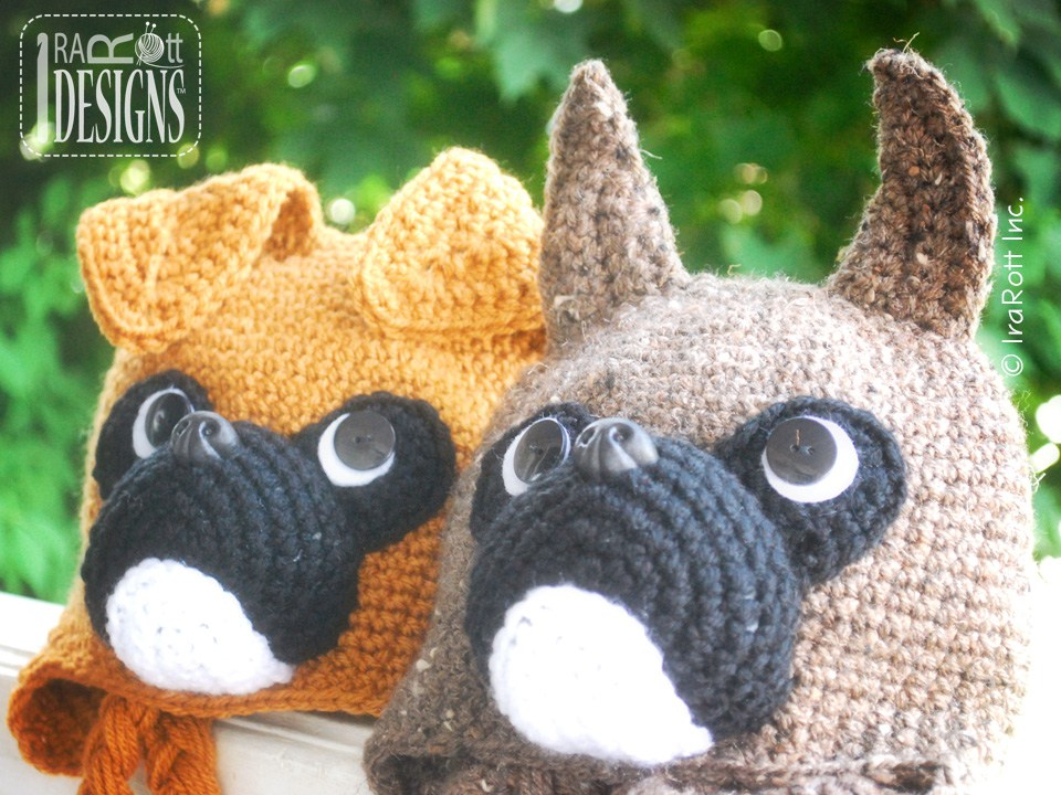 Duncan the Boxer Puppy Dog Hat PDF Crochet Pattern - IraRott Inc.