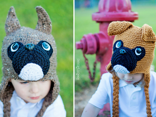 Boxer Puppy Dog Animal Hat Crochet Pattern for boy and girls of all sizes by Irarott