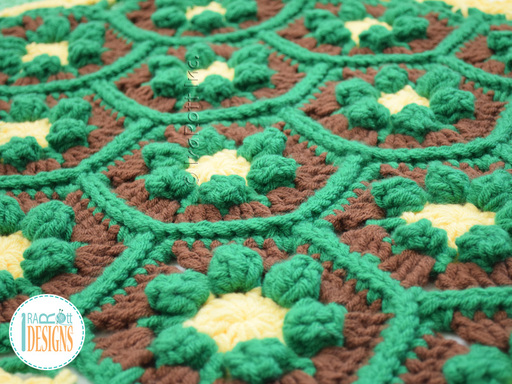 Crochet pattern PDF by IraRott for making a beautiful turtle rug or reading mat