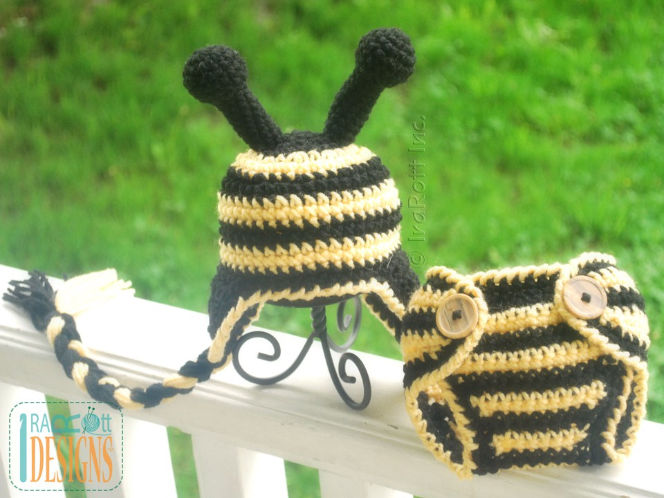 Lazy Bee Hat And Diaper Cover Baby Set Pdf Crochet Pattern