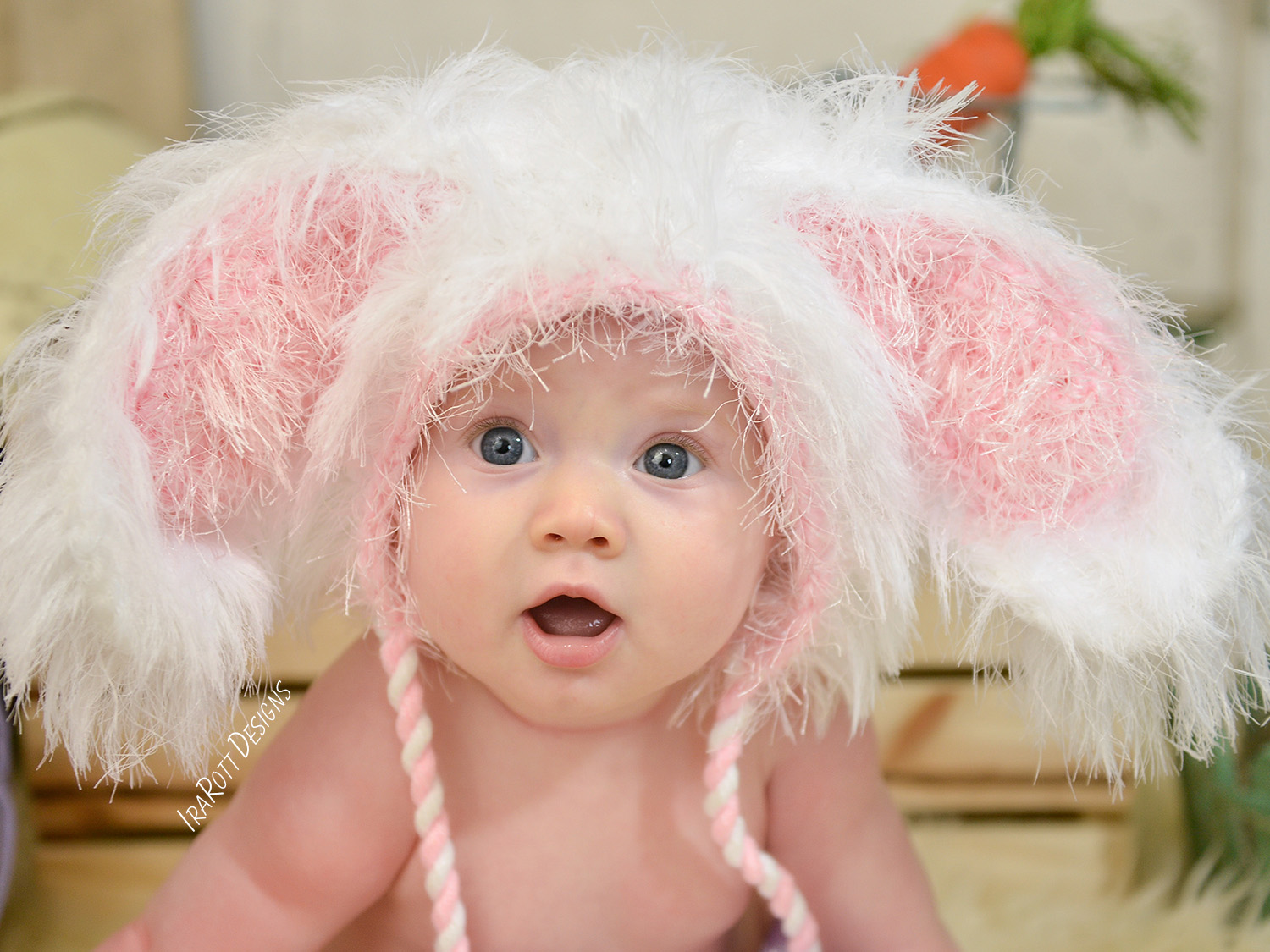 Babies super soft white bunny hat with pink inner ears