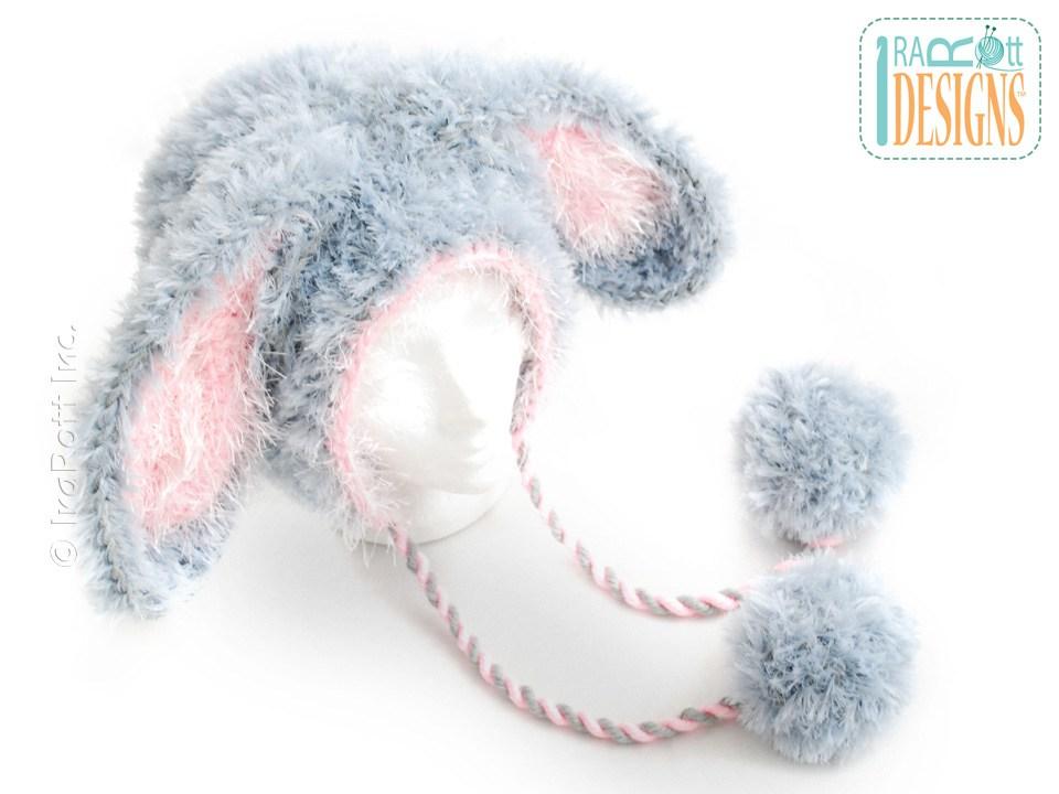 Crochet Bunny Ears Hat Pattern : Fluffy the Bunny Bonnet PDF Crochet Pattern - IraRott Inc.