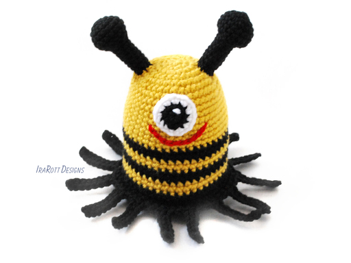 PDF Crochet Pattern for making a cute Bee Monster Amigurumi Toy