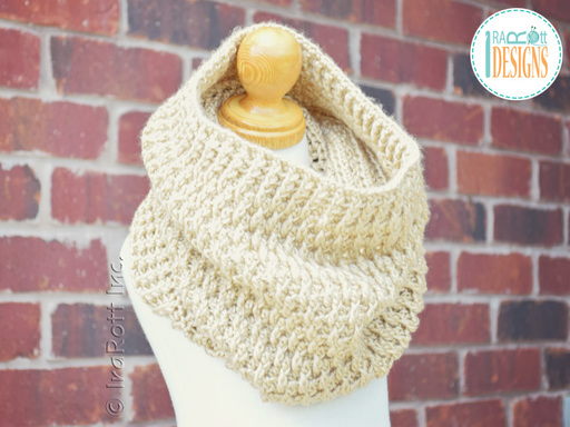 Crochet Pattern PDF for making a Chunky Textured Cowl from Caron Cakes Yarn