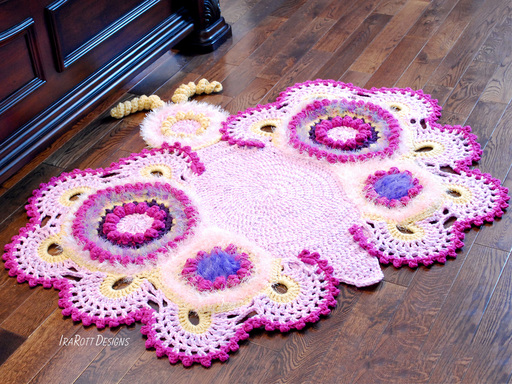 Crochet Pattern PDF for making a beautiful Butterfly Animal Rug or Nursery Mat with Big Lace Wings