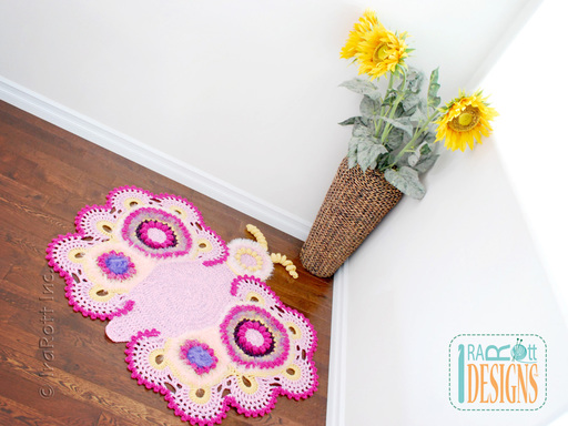 Butterfly Animal Rug Nursery Mat Crochet Pattern for Babies Kids and Infants