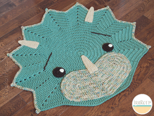 Dino Dinosaur Triceratops Rug Nursery Mat Crochet Pattern for Babies Kids and Infants