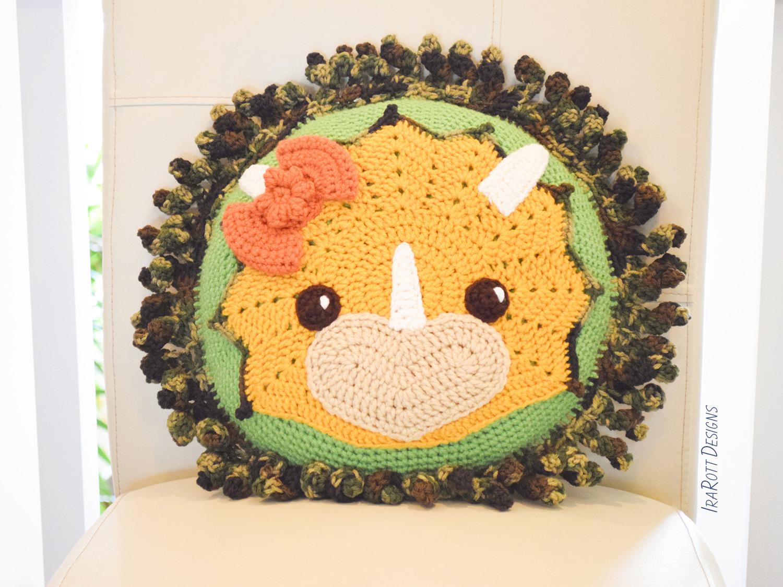 Tops The Triceratops Dino Pillow Crochet Pattern Irarott Inc