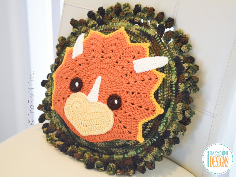 Tops The Triceratops Dino Pillow Crochet Pattern Irarott Inc