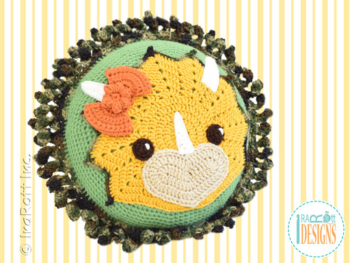 Crochet Pattern PDF for making a cute Triceratops Dino Dinosaur Pillow by IraRott Inc.