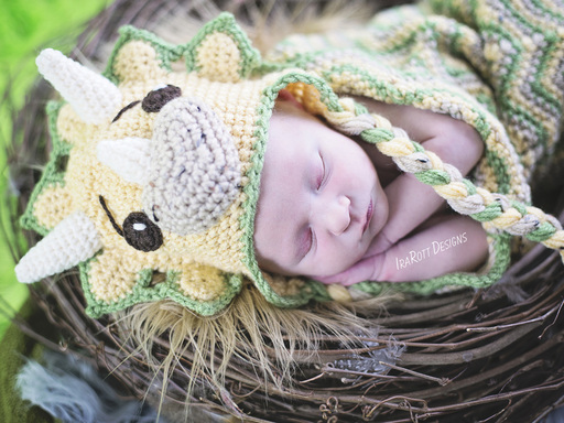 Triceratops Dino Dinosaur Baby Hat and Cocoon Crochet Pattern by IraRott