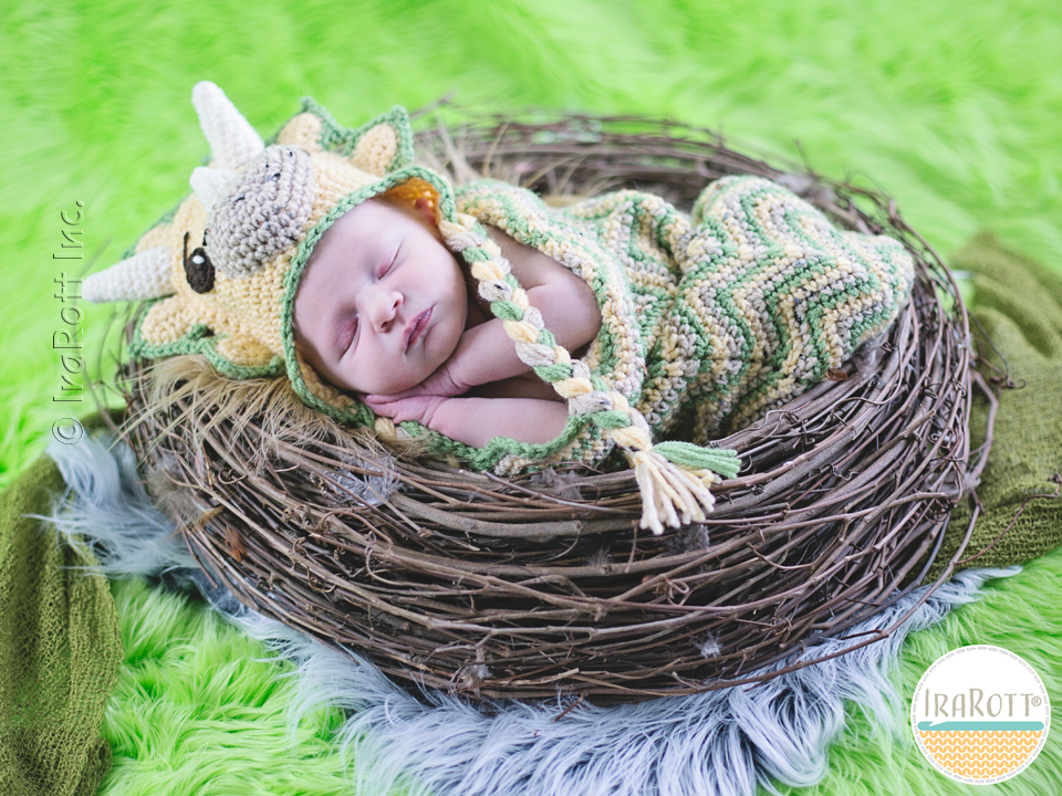 Crochet Pattern For Baby Dinosaur Hat : Cera Tops the Triceratops Dino Baby Set PDF Crochet ...