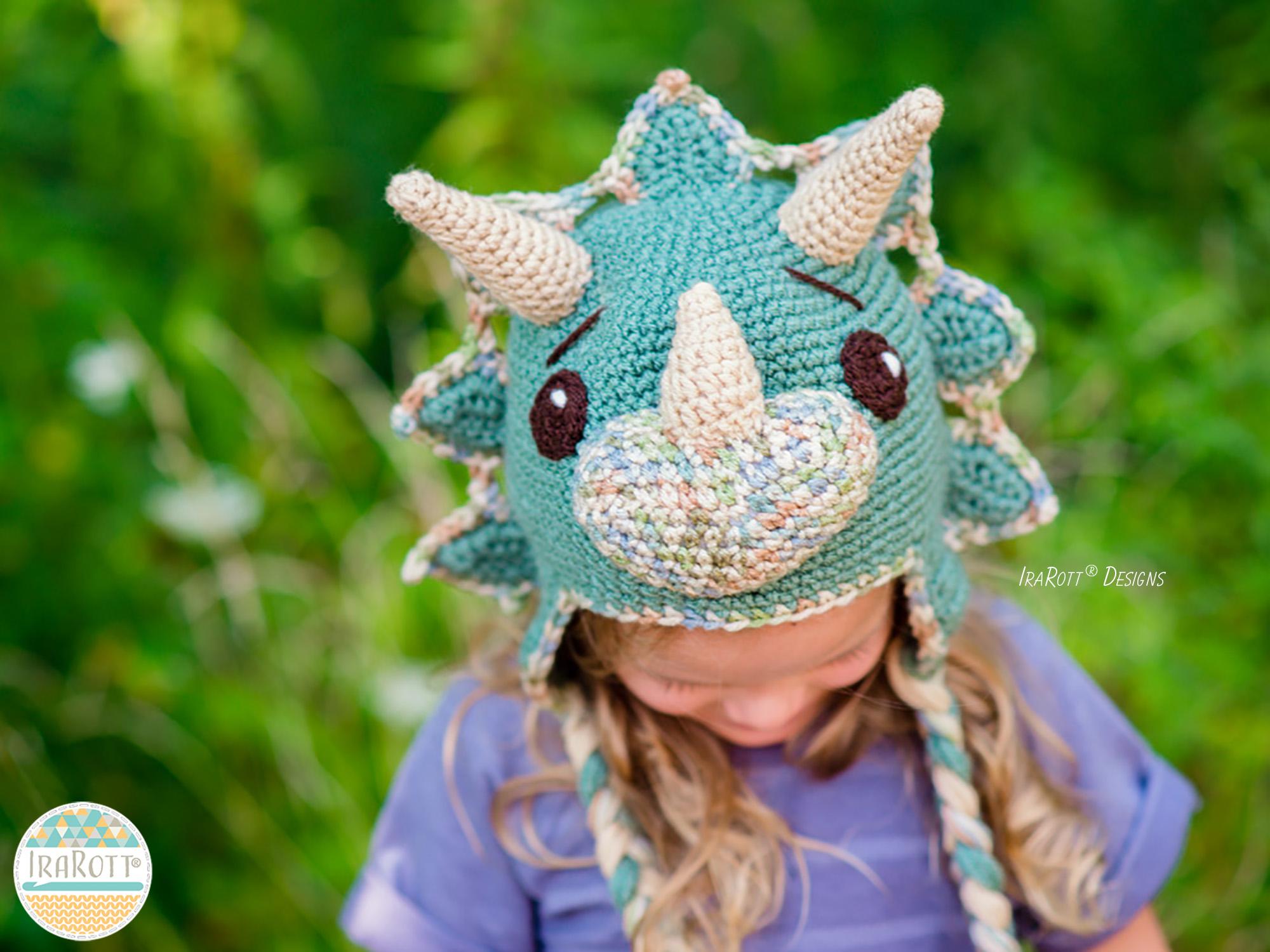 Free Crochet Pattern Dinosaur Hat : Cera Tops the Triceratops Dino Hat PDF Crochet Pattern ...
