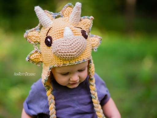 Crochet Pattern PDF for making a cute Triceratops DIno Dinosaur Hat by IraRott Inc.