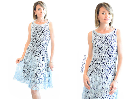 Crochet Pineapple Pattern tutorial for making a Charming Prom Dress or Wedding Dress by IraRott